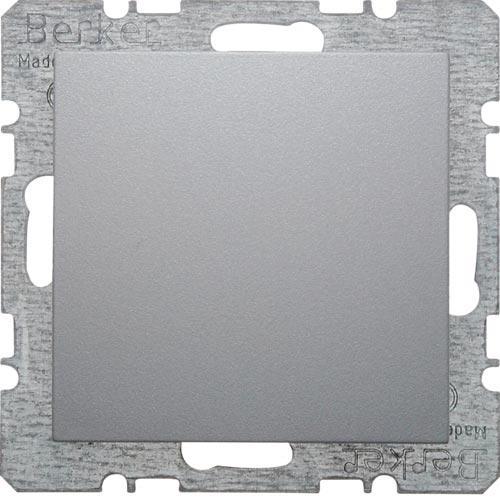 Заглушка с центральной панелью, с фиксатором, Berker из коллекции S.1/B.3/B.7 GLAS, цвет «алюминий, матовый», 6710091404