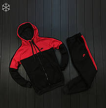 Мужской зимний спортивный костюм Nike black/red (Реплика ААА)