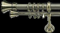Карнизы двойные ø 25+16 мм, 240 см, наконечник Колозео