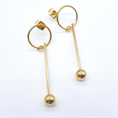 Длинные серьги с подвесками из хирургической стали с PVD покрытием под золото 176356