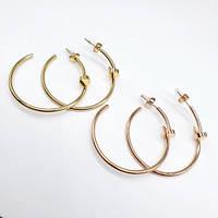Жіночі круглі сережки-з конго стали у формі цвяха в двох кольорах 176357, фото 1