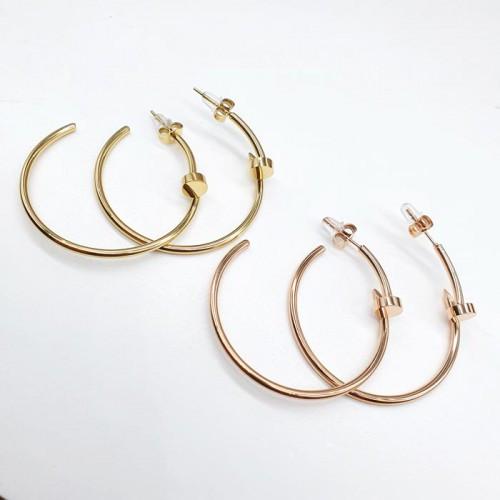 Жіночі круглі сережки-з конго стали у формі цвяха в двох кольорах 176357