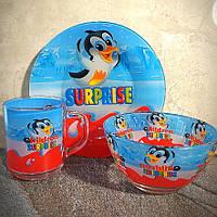 Набор детской стеклянной посуды  Surprise 3 предмета с мульт-героями (A9551/2)