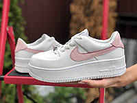 Женские демисезонные кроссовки Nike Air Force (бело-розовые) 9894