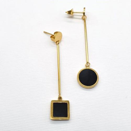 Жіночі сережки з медичного металу з геометричними підвісками Асиметрія 176359