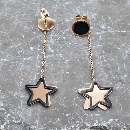 Модные сережки из ювелирной стали с подвесками звездочками 176360