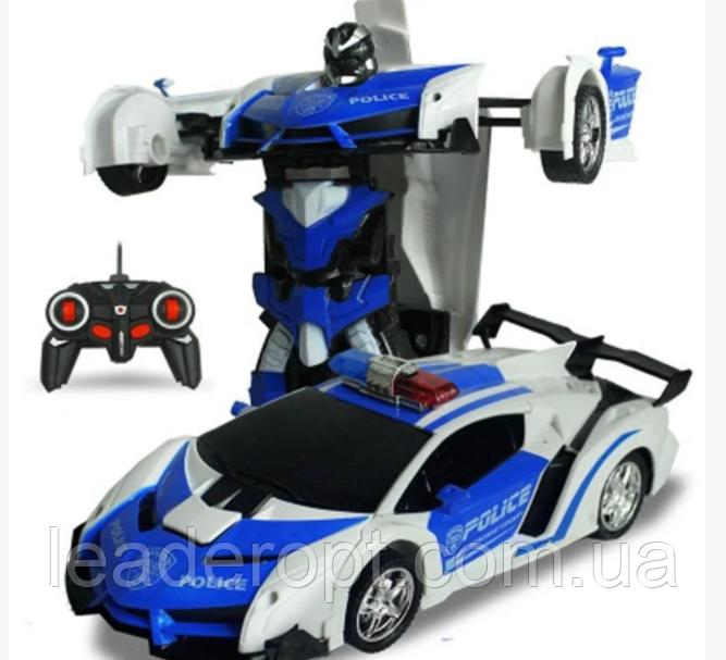 ОПТ Машинка Трансформер с пультом Lamborghini Police Robot Car Size 118 Синяя