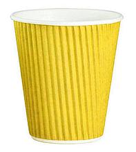 Стакан бумажный гофрированный 110мл желтый 25шт/уп