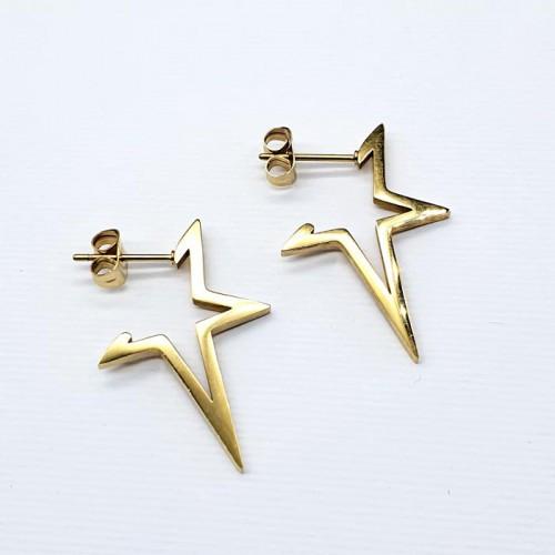 Незвичайні сережки-кільця з сталі у формі зірки 176362
