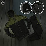 Мужской зимний спортивный костюм Nike black/khaki (Реплика ААА), фото 2