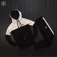 Мужской зимний спортивный костюм Nike black/grey (Реплика ААА)