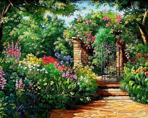 Картина рисование по номерам Чарівний діамант Райский сад РКДИ-0179 40х50см набор для росписи, краски, кисти,