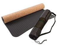 """Коврик World Sport для йоги и фитнеса TPE, пробка, """"цветная точка"""", 183х61х0,4см ,чехол в подарок"""