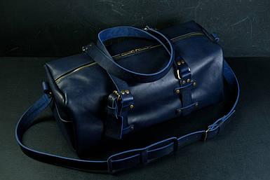"""Сумка Travel """"Модель №81"""", Шкіра Італійський краст, колір Синій"""
