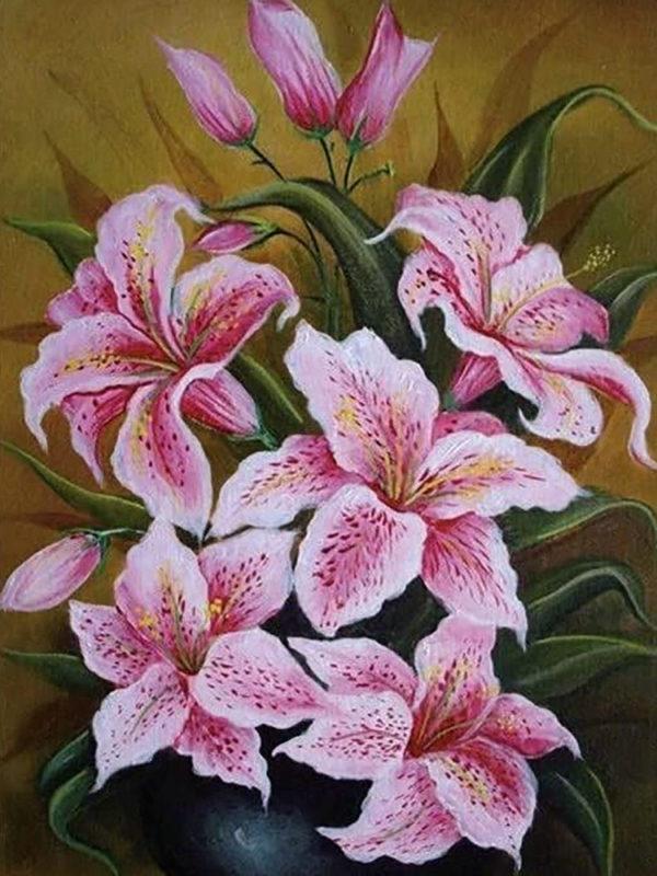 Картина по номерам Чарівний діамант Розовые лилии РКДИ-0233 30х40см набір для розпису по цифрах, розмальовка набір для розпису, фарби та пензлі