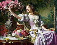 Картина рисование по номерам Чарівний діамант Леди в пурпурном платье РКДИ-0192 40х50см набор для росписи,, фото 1