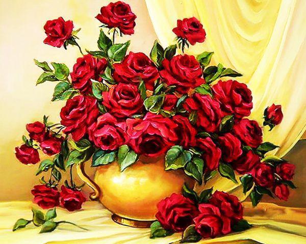 Картина рисование по номерам Чарівний діамант Букет красных роз РКДИ-0021 40х50см набор для росписи, краски,
