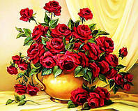 Картина рисование по номерам Чарівний діамант Букет красных роз РКДИ-0021 40х50см набор для росписи, краски,, фото 1