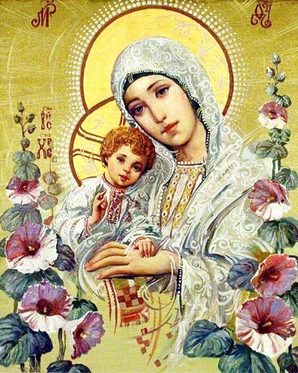 Картина рисование по номерам Чарівний діамант Ікона Богородица с Иисусом РКДИ-0015 40х50см набор для росписи,