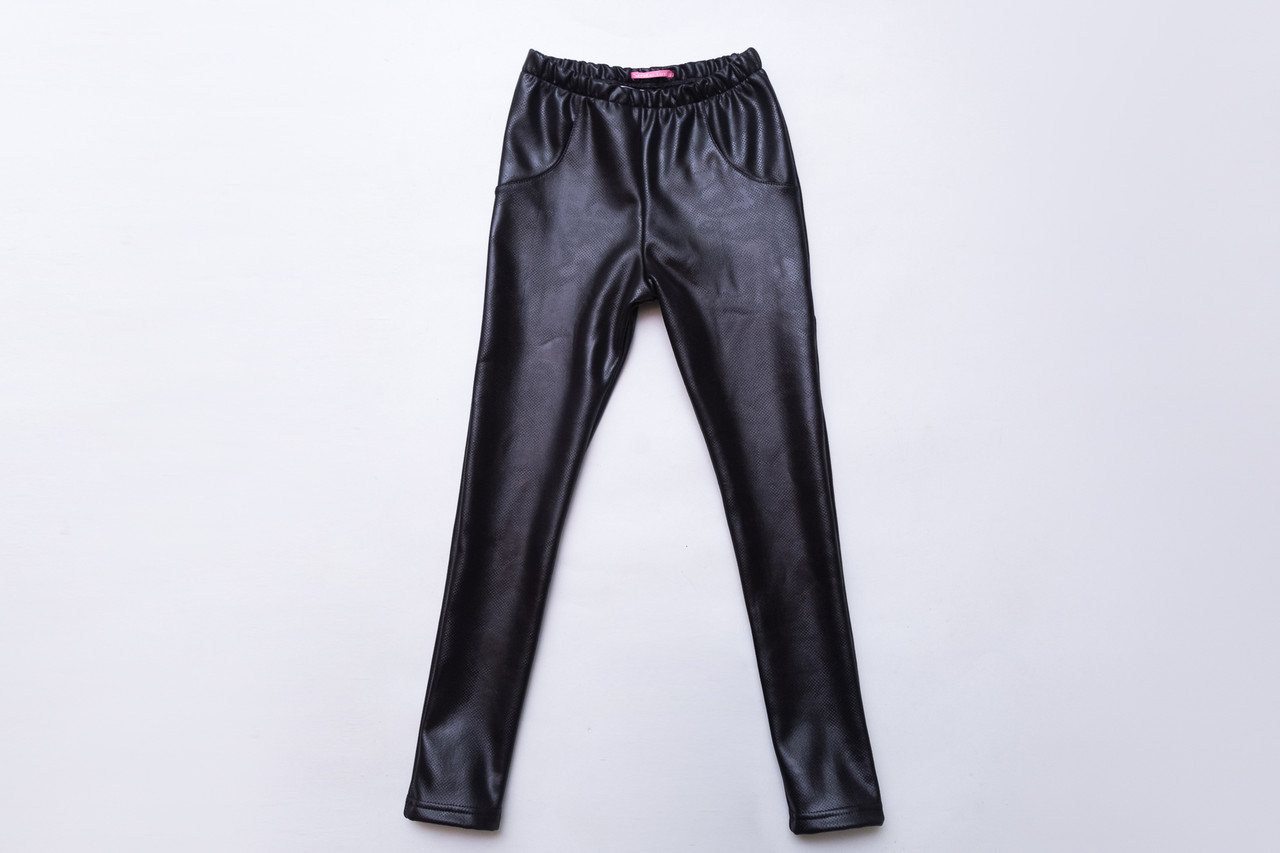 Лосины кожаные на меху р.134,140,146 SmileTime для девочки Leather perforation, черные