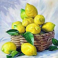 Картина рисование по номерам Чарівний діамант Корзинка с лимонами РКДИ-0263 40х40см набор для росписи, краски,, фото 1