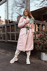 Женский двухсторонний пуховик-одеяло из лаковой плащевки 42-48 р