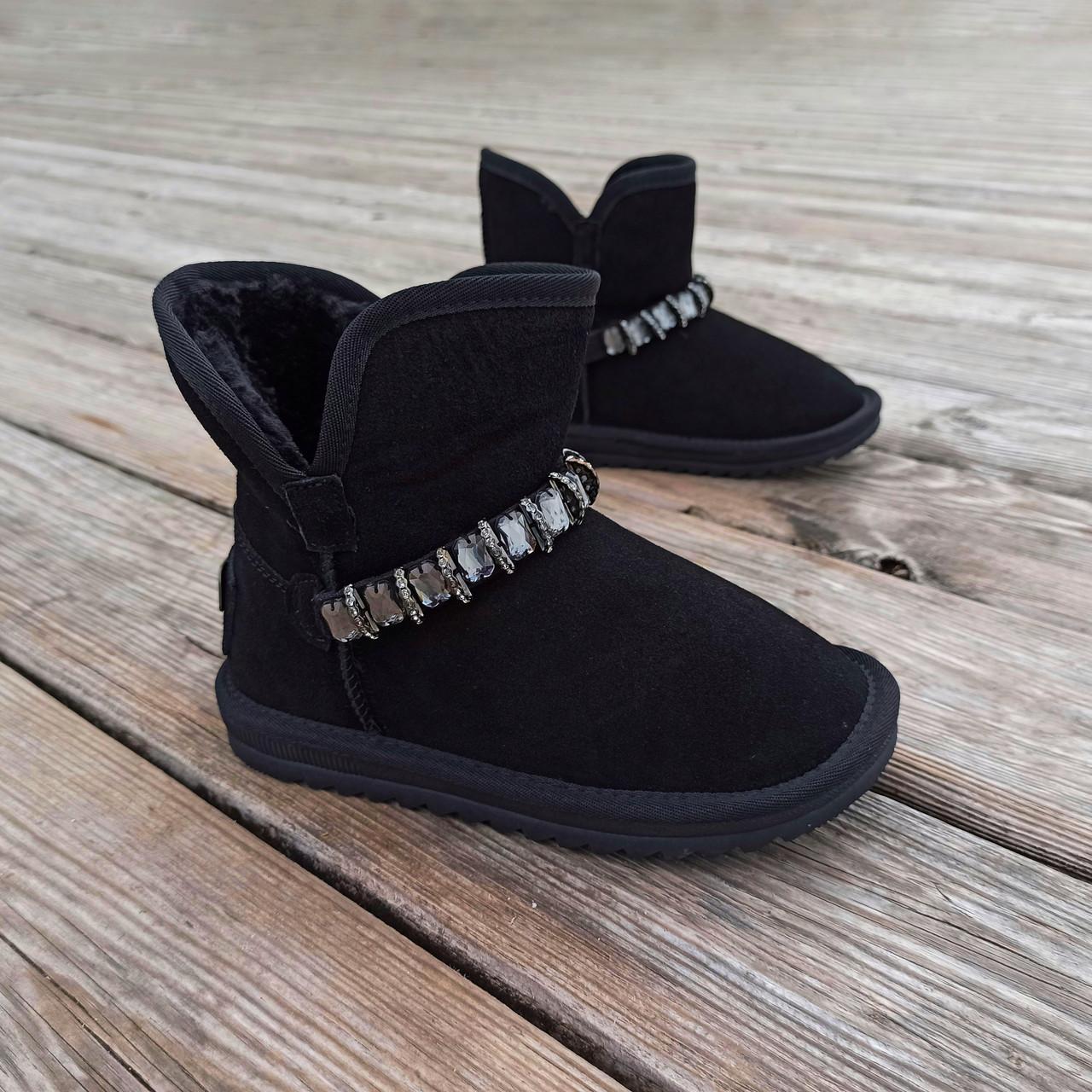 Натуральна замша уггі дитячі UGG чорні черевики чобітки уггі дитячі для дівчинки