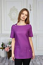 Женская медицинская батистовая куртка с карманами фиолетовая 42-56