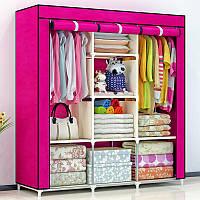 Складной тканевый шкаф, шкаф для одежды Storage Wardrobe 88130 на 3 секции Pink