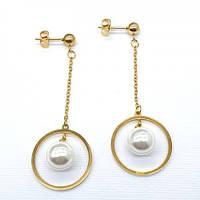 Сережки вечірні з ювелірного сплаву з штучним перлами 176363