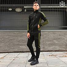 Мужской зимний спортивный костюм Puma black (Реплика ААА)