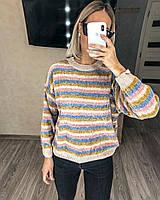 Светр жіночий теплий велюровий в смужку на манжеті розмір 48-52, колір уточнюйте при замовленні, фото 1