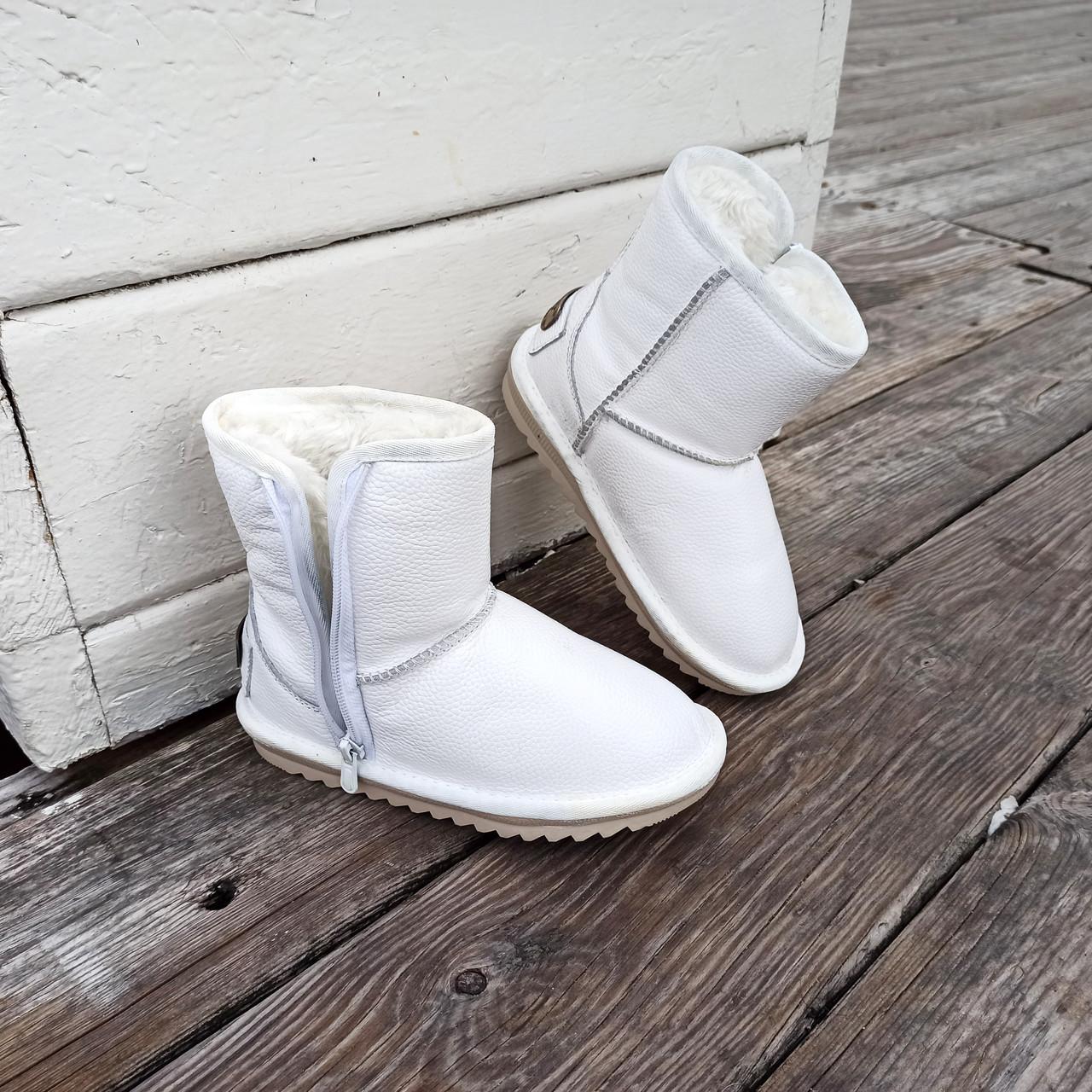 Натуральна шкіра Уггі UGG шкіряні дитячі БІЛІ чобітки уггі черевики уггі дитячі шкіряні