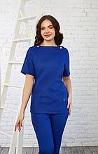 Женская медицинская синяя батистовая куртка с удобными карманами 42-56