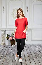 Женская медицинская батистовая куртка с карманами красного цвета 42-56