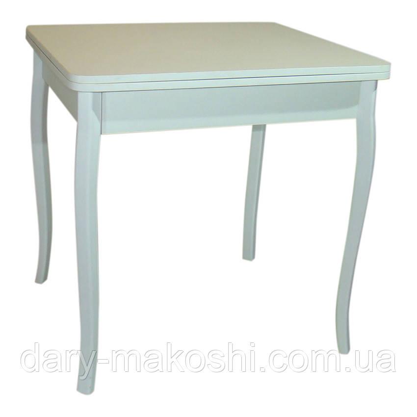 Стол обеденный раскладной Тавол Формади 65смх75смх75см с деревянными резными ножками Белый