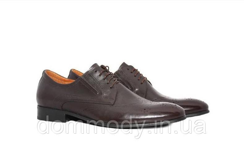 Туфлі-броги чоловічі із коричньової шкіри