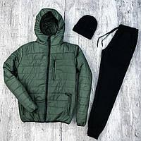 Куртка зимняя мужская + Штаны + ПОДАРОК шапка   Комплект зимний мужской хаки   спортивный костюм до - 8*С