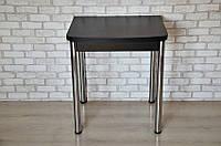 Стол раскладной Тавол Овале 60 см х 70 см х 75 см овальный ноги металл хром Черный