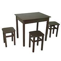 Обеденный Комплект Тавол Ретта (стол + 3 табурета) 80х60х75 Венге, фото 1