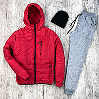Куртка зимняя мужская + Штаны + ПОДАРОК шапка   Комплект зимний мужской красный   спортивный костюм до - 8*С