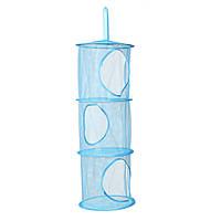Вертикальный органайзер для детской на три уровня, голубой, сетка для хранения игрушек