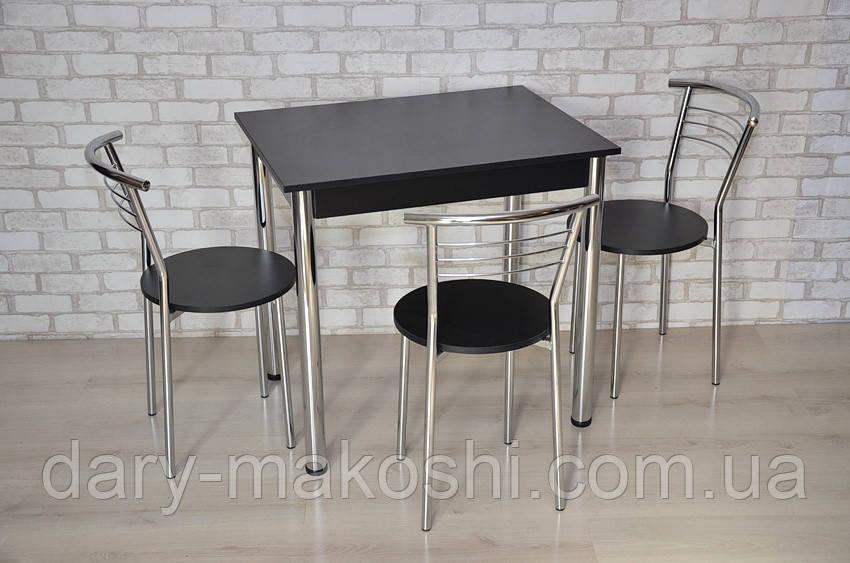 Кухонный комплект Тавол Ретта 80см х 60см ножки металл хром (Стол не раскладной + 3 стула) Черный