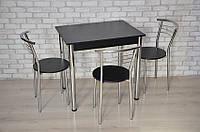 Кухонный комплект Тавол Ретта 80см х 60см ножки металл хром (Стол не раскладной + 3 стула) Черный, фото 1