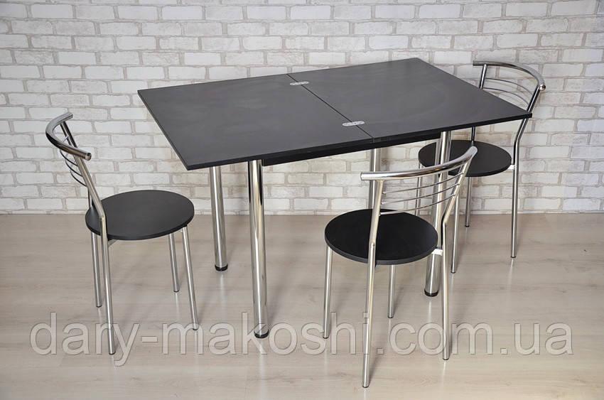Кухонный комплект стол Тавол Ретта раскладной + 3 стула Черный