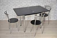 Кухонный комплект стол Тавол Ретта раскладной + 3 стула Черный, фото 1