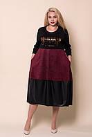 Женское платье черное с бордовым батал от производителя. Размеры 52-58. Замеры в описании