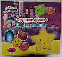 _NEW Vitaland Звірята Сквиши + фруктове драже 2г*24шт