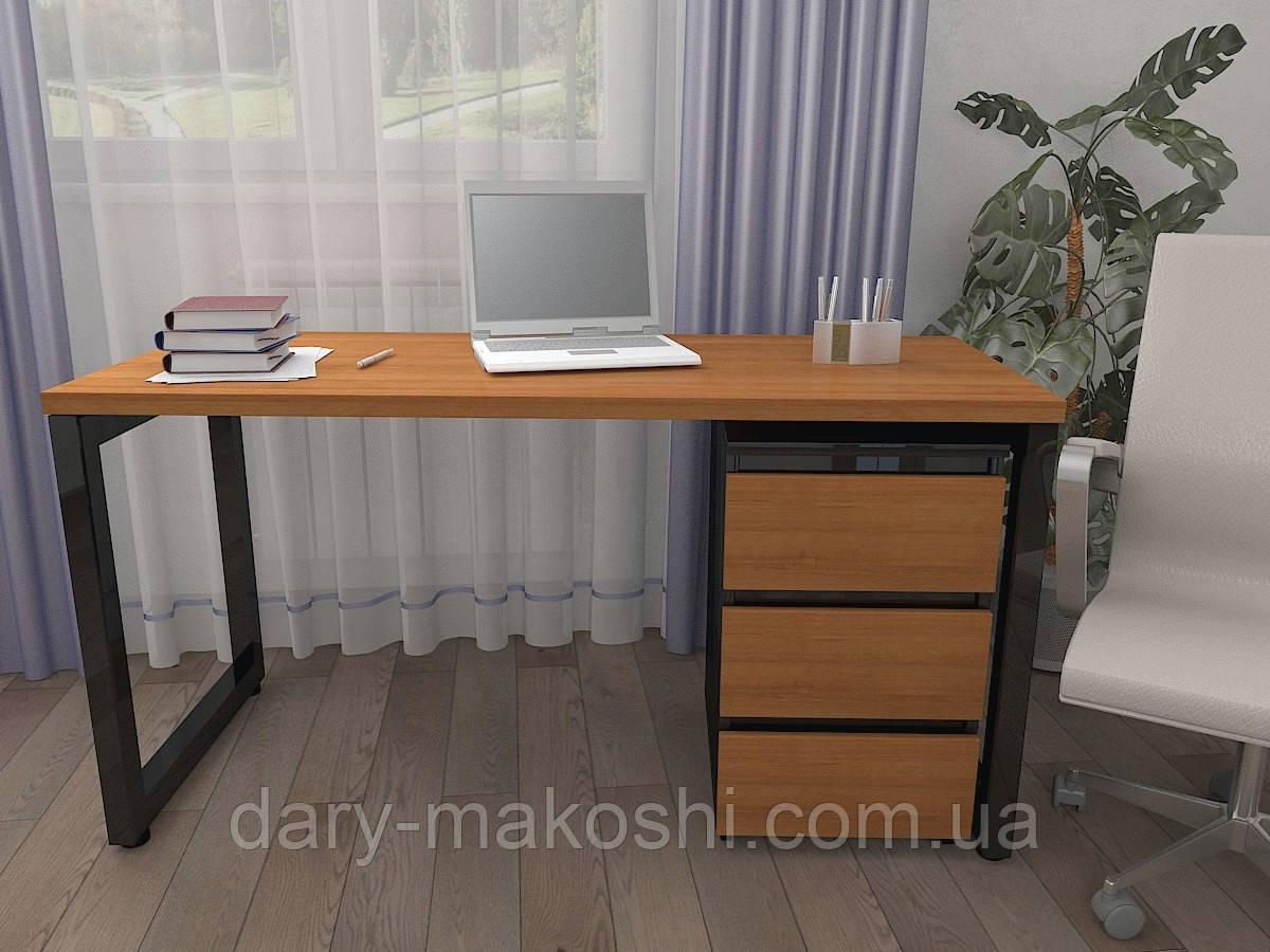 Стол Тавол КС 8.3 с мобильной тумбой металл опоры черные 140смх60смх75см ДСП 32 мм Орех-Черный
