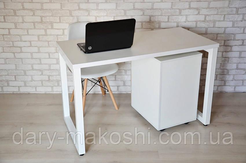Стол Тавол КС 8.3 с мобильной тумбой металл опоры белые 120смх70смх75см ДСП 32 мм Белый